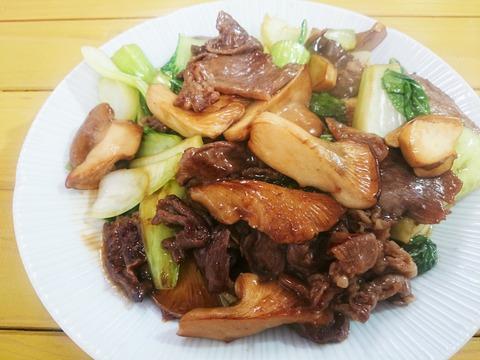 満天青空レストラン「足太あわび茸と近江牛のオイスター炒め」
